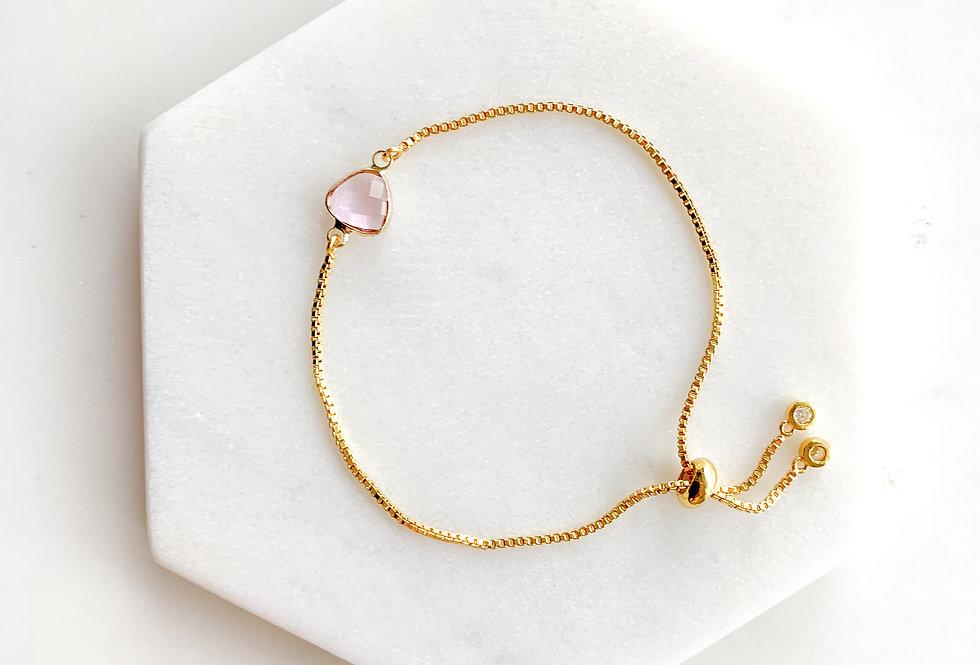 14K Gold-Plated on Sterling Silver Mini Pink Crystal Adjustable Bracel