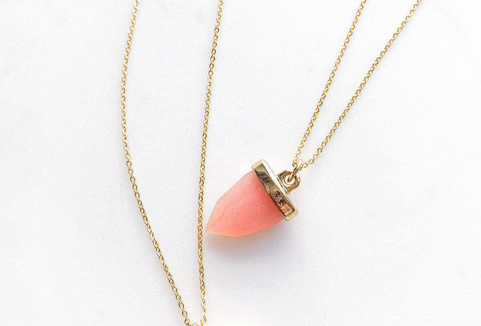 Peach Agate Pointed Triangle Necklace