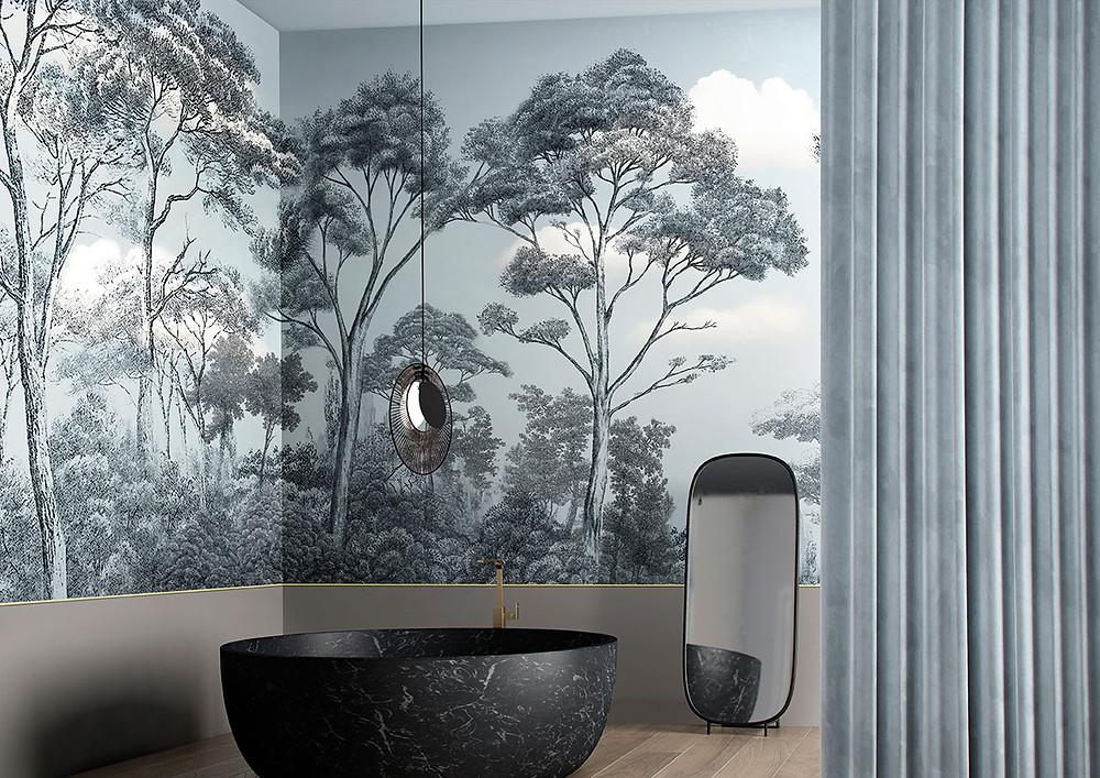 Glamora |Bathroom wallpaper |блог senko architects| Обои в  современном интерьере: клеить или не клеить? | обои ванная комната | обои дизайн интерьера | дизайнер интерьера украина киев