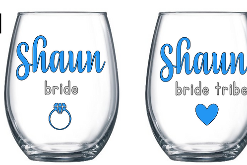 Bridal Stemless Wine Glass