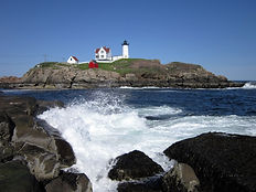 Beautful Spring day at Nubble Light in York Maine