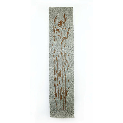 Flower Wall Piece | Belgian Linen with Leather Appliqué