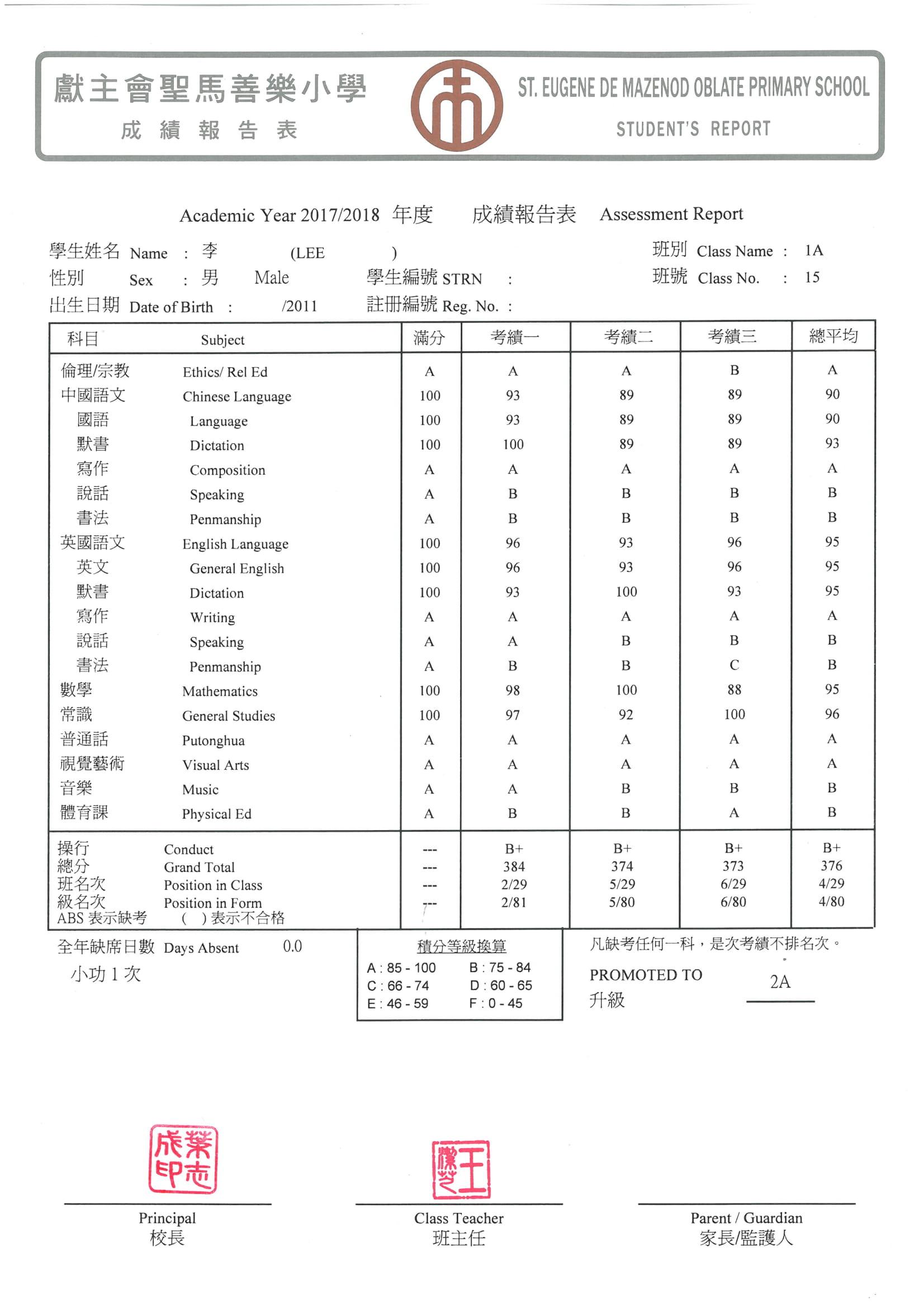 善 李樂希 P1 成績表 (全年)-2
