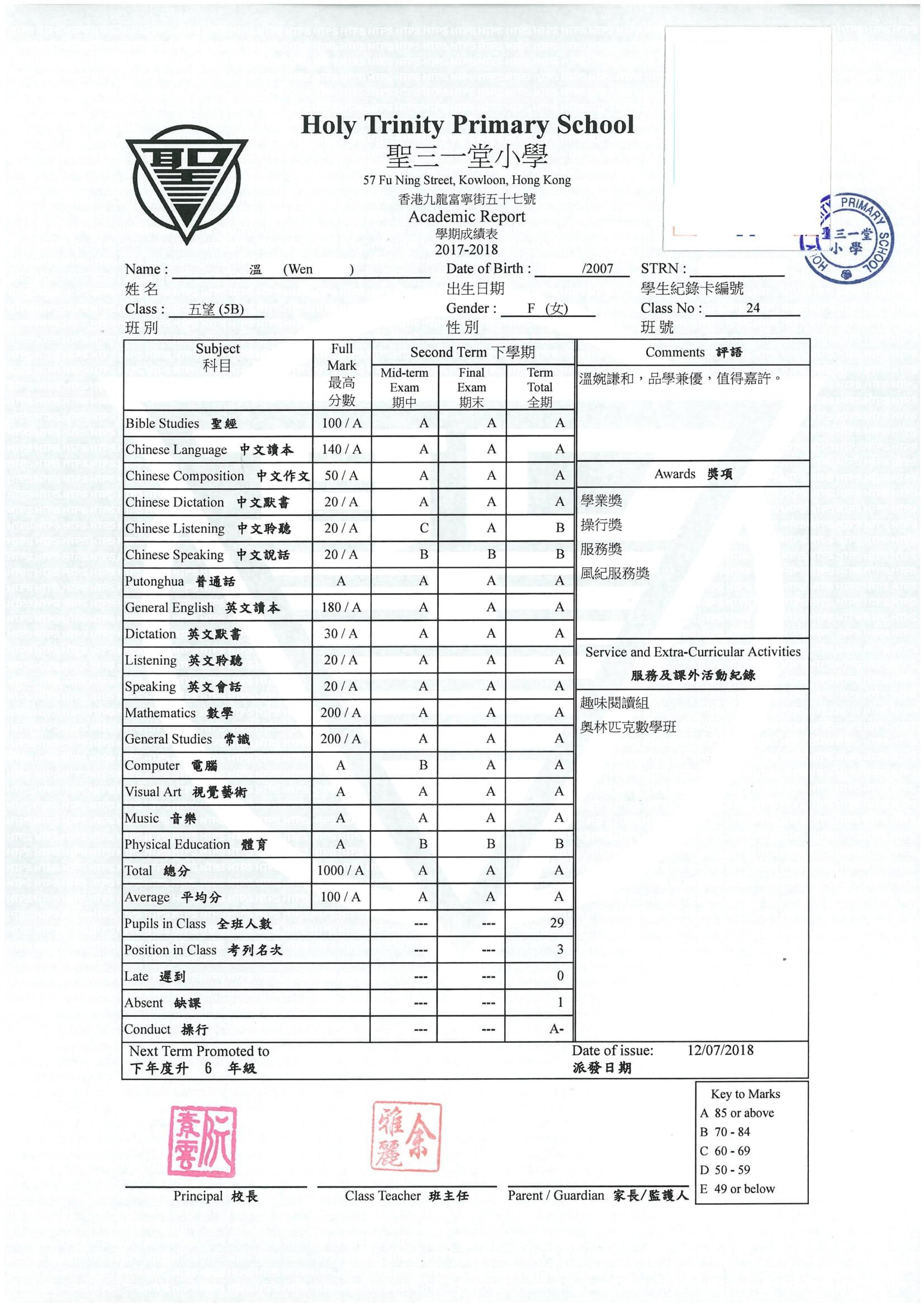 聖 温晴 P5 成績表 (全年)-1