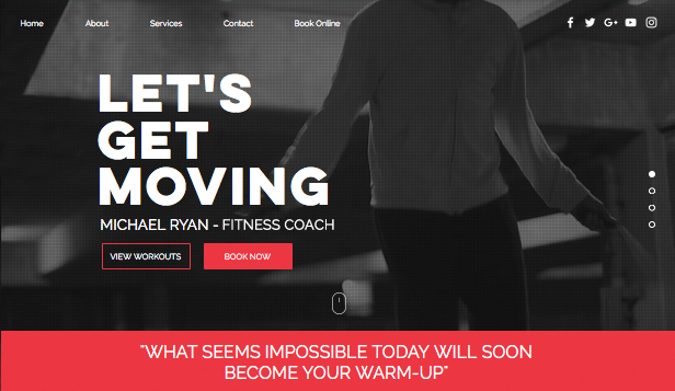Health & Wellness website templates – Fitness Coach
