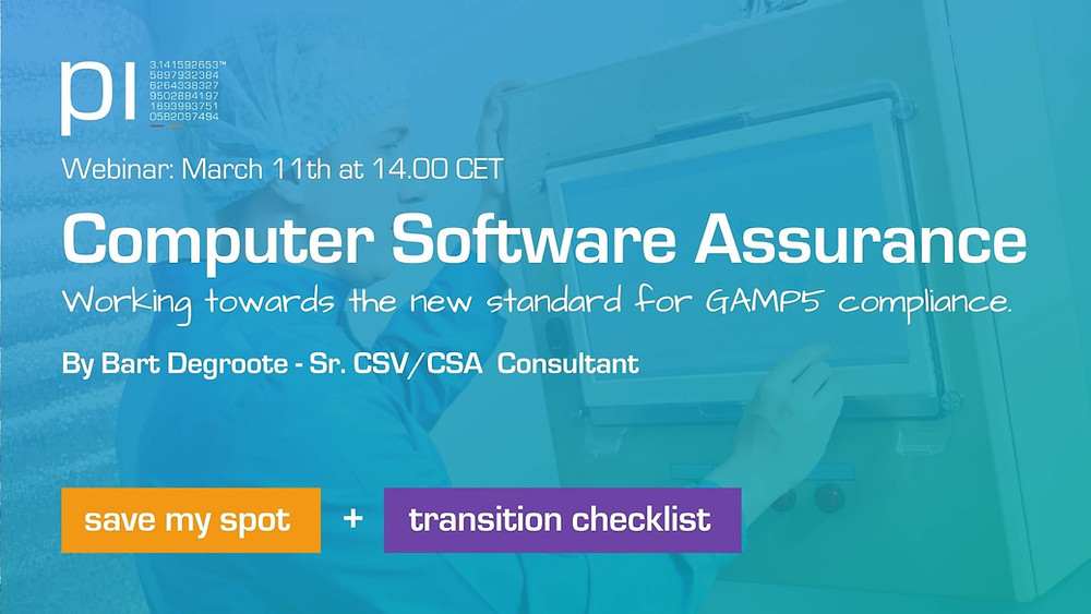 Image that displays our upcoming webinar on Computer Software Assurance