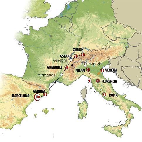 España, Francia, Suiza, italia