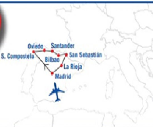 Madrid, Santiago de Compostela, Oviedo, Santander, Bilbao, Laguardia