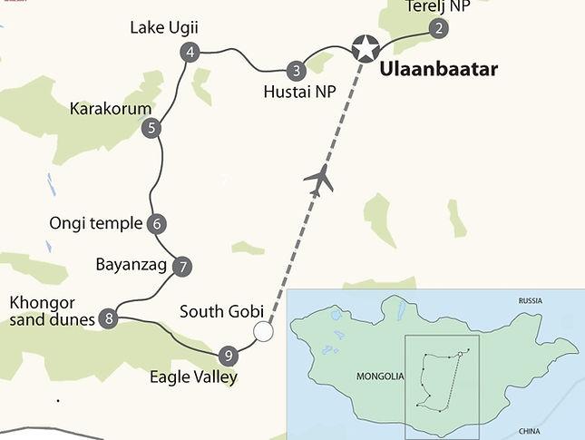 Ulan Bator, Lago Ugii, Erdenezuu, Karakorum, Bayanzaag, Desierto de Gobi