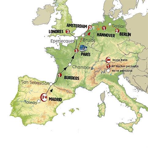 Madrid, San Sebastián, Burdeos, Chambord, París, Canal de la Mancha, Londres
