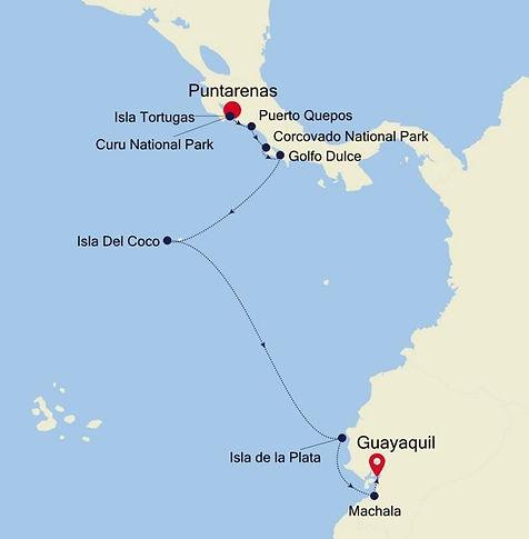 Puntarenas, Golfo Dulce, Isla del Coco, Guayaquil