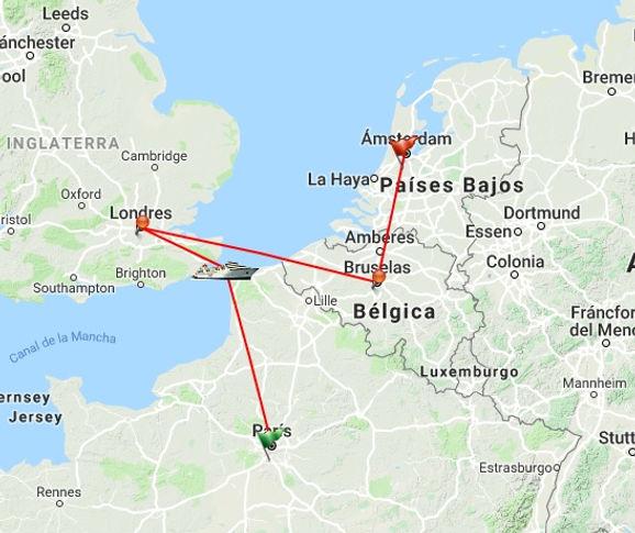 París, Londres, Brujas, Bruselas, Rotterdam, La Haya, Ámsterdam