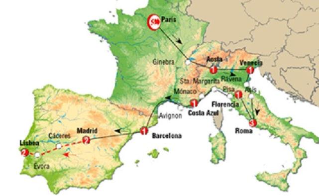 Madrid, París, Venecia, Roma, Florencia, Costa Azul, Barcelona