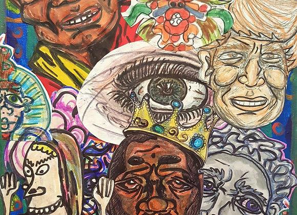 """Biggie's brain.""16X12in. Featuring Notorious B.I.G and Dalai Lama."