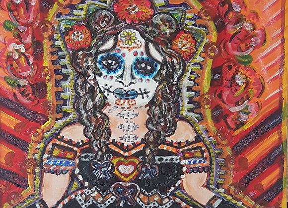 """Katrina"" 17X15inch. A Dia De Los Muertos style Katrina. Inspired by m"