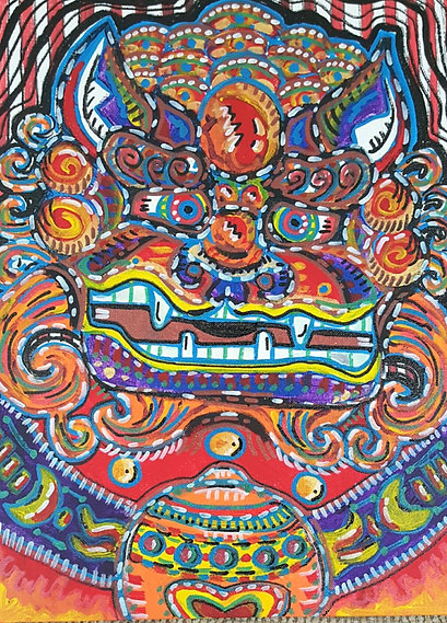 """Foo Dog"" 16X12in. Guardian to watch over you in vibrant colors."
