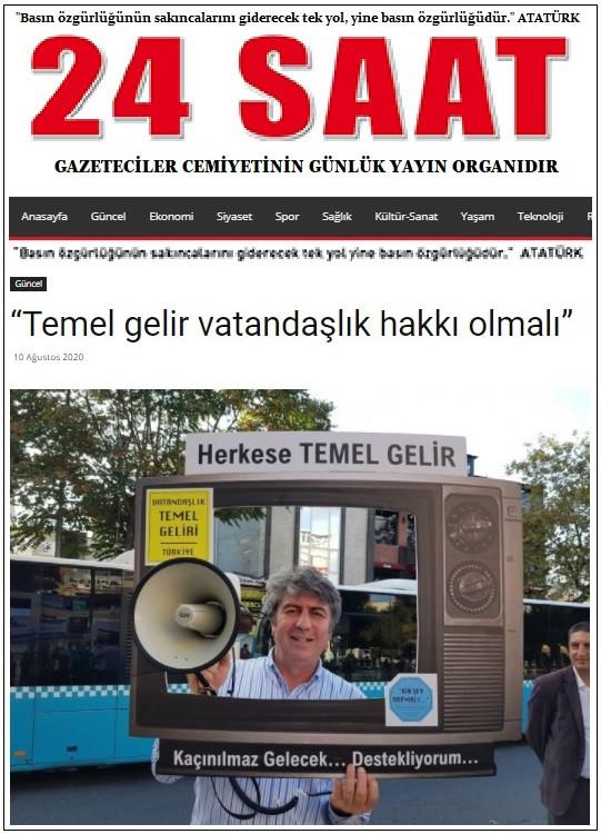 10 Ağustos 2020 - 24 SAAT Gazetesi - Sercan ENGEREK - Temel gelir vatandaşlık hakkı olmalı.