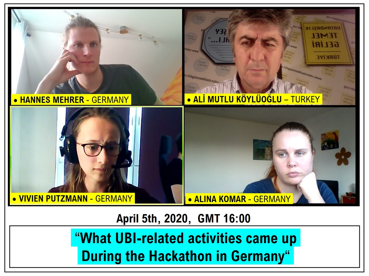 'What UBI-related activities came up during the Hackathon in Germany' - April 5th, 2020