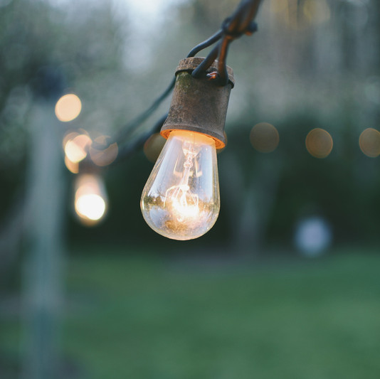 Close up of outdoor Edison Lights