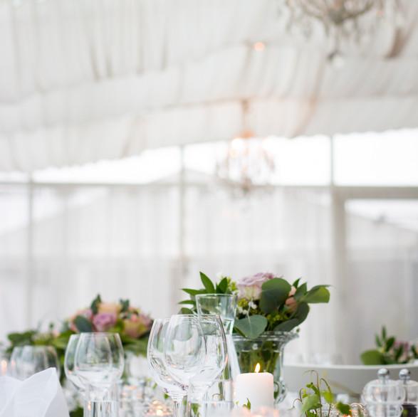 Wedding Reception Table Set for Outdoor Spring Wedding