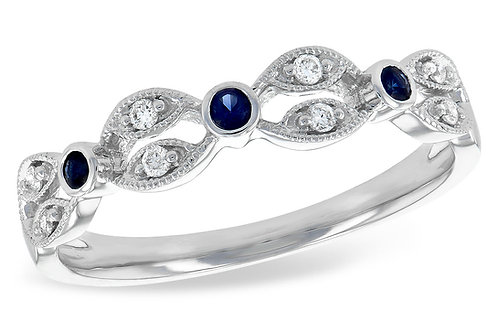 14 Kt. White Gold, Blue Sapphire & Diamond Fashion Band