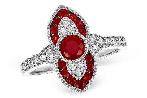 Vintage Inspired 14 Kt. White Gold, Ruby & Diamond Ring