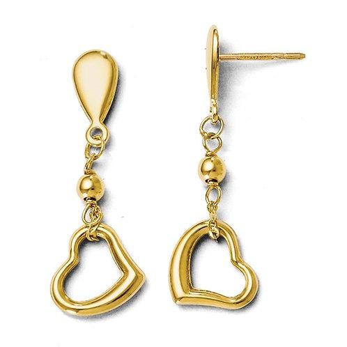 14 Kt. Yellow Gold Heart Dangle Earrings