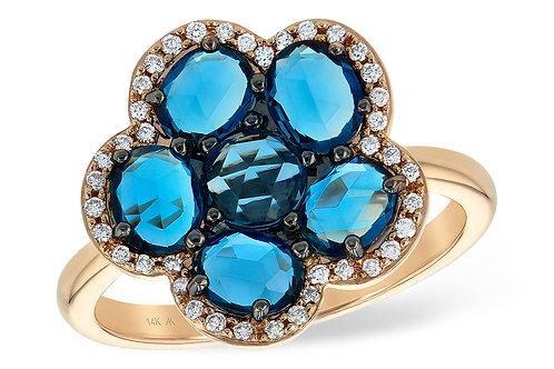 14 Kt. Yellow Gold, Blue Topaz & Diamond Fashion Ring