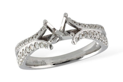 14 Kt. White Gold & Diamond Cathedral Split Shank