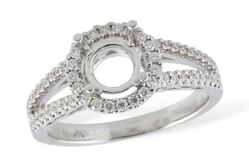 14 Kt. White Gold & Diamond Split Shank Round Halo Mounting