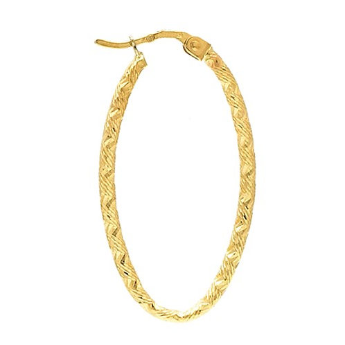 14 Kt. Yellow Oval Textured Hoop Earrings