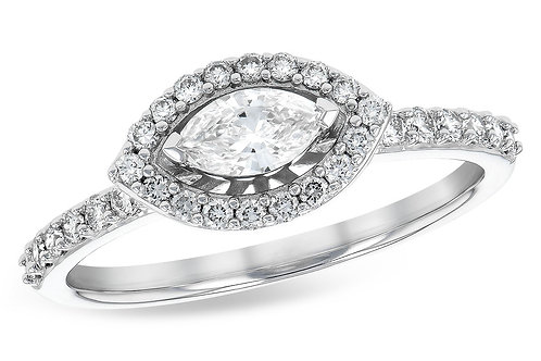 14 Kt. White Gold and Diamond Marquise Fashion Ring