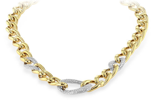 14 Kt. Yellow Gold and Diamond Pave' Curb Link Necklace