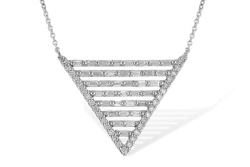 14 Kt. White Gold & Diamond Triangular Shaped Fashion Necklace