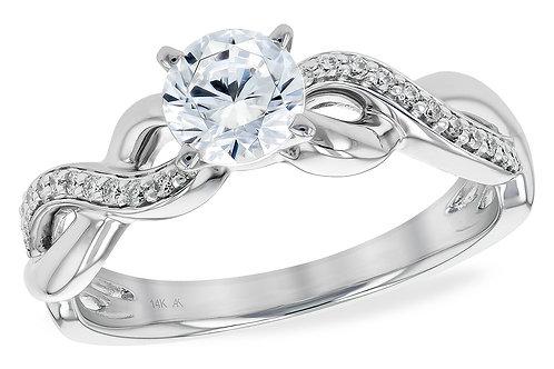 14 Kt. White Gold & Diamond Infinity Style Semi-Mount