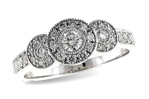 14 Kt. White Gold and Diamond Three Stone Ring