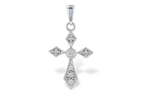 14 Kt. White Gold & Diamond Cross Pendant