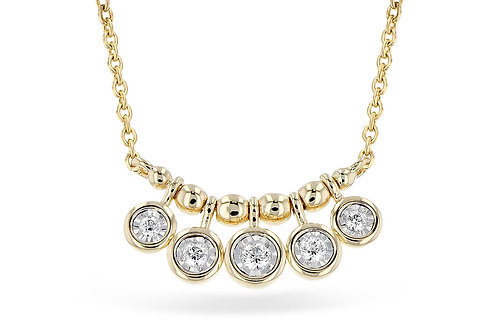 14 Kt. Yellow Gold & Five-Stone Diamond Necklace