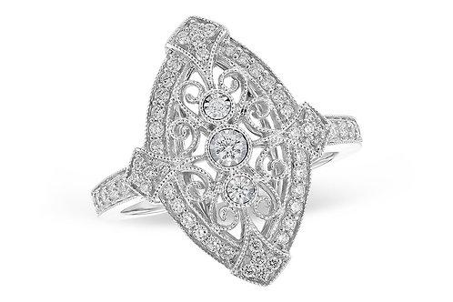 Vintage Inspired 14 Kt. White Gold & Diamond Ring