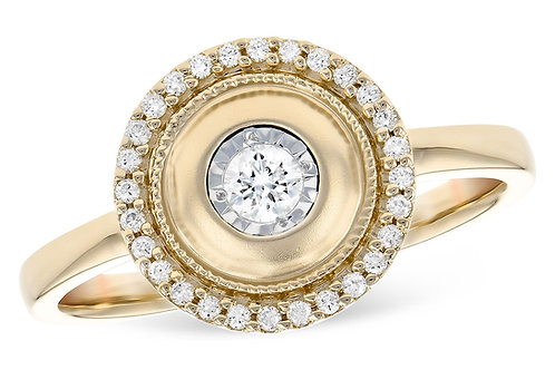 14 Kt. Yellow Gold and Diamond Illusion Halo Ring