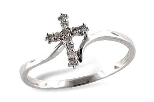 14 Kt. White Gold & Diamond Cross Ring