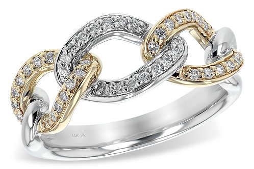 14 Kt. Two Tone Gold and Diamond Link Ring
