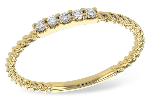 14 Kt. Yellow Gold and Diamond Rope Band