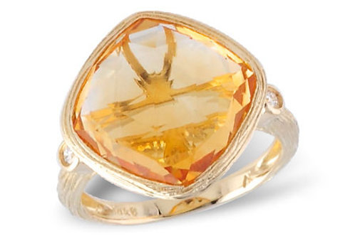14 Kt. Yellow Gold, Citrine & Diamond Ring