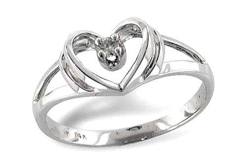 14 Kt. White Gold & Diamond Heart Shaped Ring