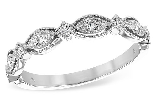 14 Kt. White Gold & Diamond Antique Inspired Band