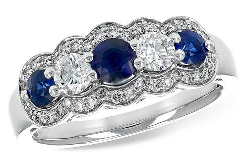 14 Kt. White Gold, Blue Sapphire & Diamond Ring