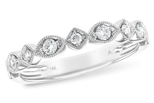 14 Kt. White Gold and Diamond Antique Style Band