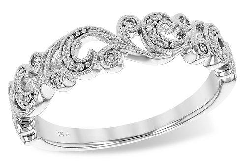 14 Kt. White Gold & Diamond Antique Inspired Scroll Ring