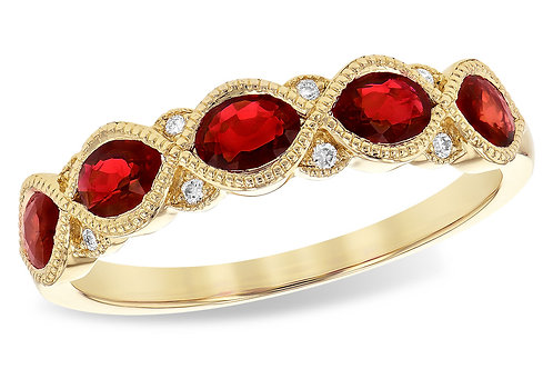14 Kt. Yellow Gold, Ruby & Diamond Band